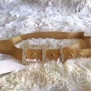 Zara gold bejeweled chain mesh belt